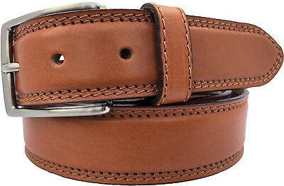 Mens 100% Real Italian Leather Belt Miele Tan With Double Stitching 35Mm