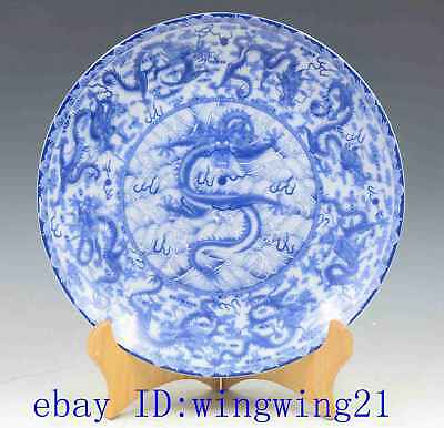 Chinese antique hand-made Blue and White porcelain dragon pattern plate