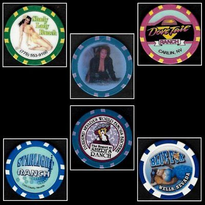 HARD TO FIND / 6 Different Assorted Brothel Fantasy Chips - Set #2 / Nevada