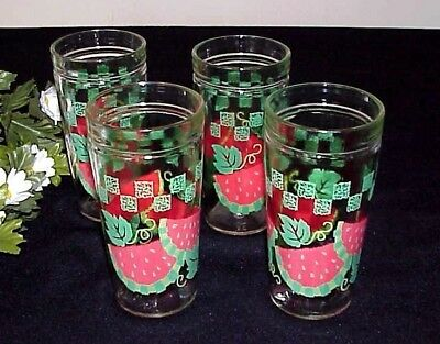Vintage Watermelon Drinking Glasses (4) Checkered Leaves  Anchor Glass Co.