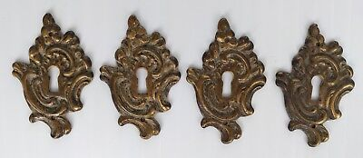 Vintage Brass French Keyhole Backplate Escutcheons K656 - lot of 4
