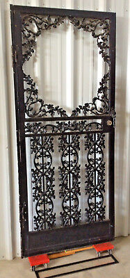 Vintage Wrought Iron Security Door: Lock, Glass and Side Trim Panels; c1960s-70s