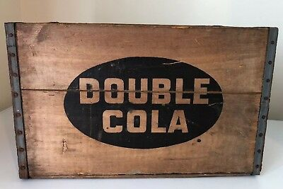 Vintage Large Double Cola Nickel Wood Wooden Crate Box Very Nice