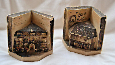 Pair Vintage Chalkstone Bookends Charles Dickens House Curiosity Shop 99p N/R