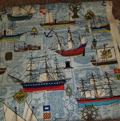 Vintage House'N Home Fabrics and Draperies Nautical Ships 12 yards RARE
