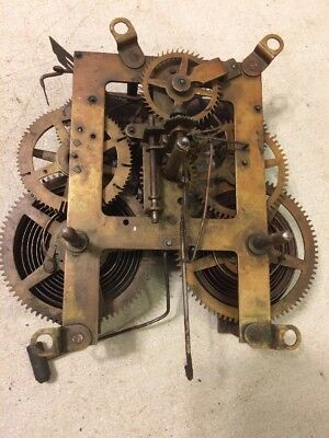 Antique Ingraham Oak Cabinet Mantle Clock Movement