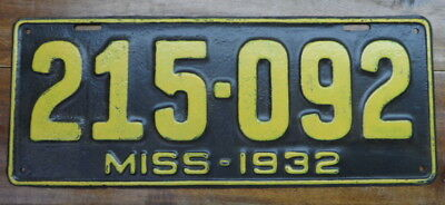Nice, Very Cool Vintage 1932 Mississippi License Plate, Rustic Repaint, # 215092