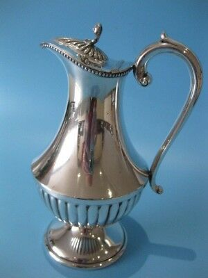 Beautiful Antique Silver Plated Georgian Half Fluted Claret Jug / Wine Pitcher
