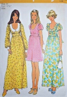 Vintage 1970s Simplicity MISSES DRESS Sewing Pattern~SIZE 10~#5568~TWO LENGTHS !