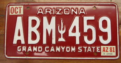 "Excellent, Early 1980 Base 1981 Arizona Vintage Maroon ""a"" License Plate Abm 459"