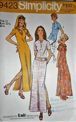 Vintage 1970s Simplicity MISSES HOODED DRESS Pattern~SIZE 10~#9423~FOR KNITS !