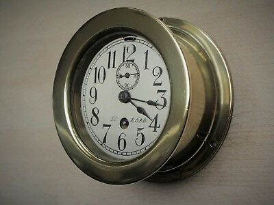 Antique Brass Nautical Clock with seconds dial