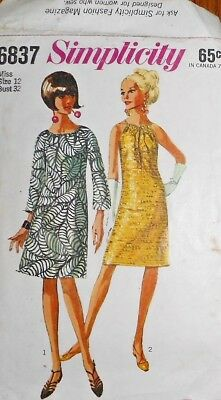 Vintage 1960s Simplicity A-LINE DRESS Sewing Pattern~SIZE 12~~#6837~BELL SLEEVES