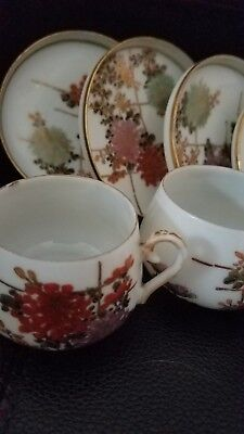 ANTIQUE JAPANESE SIGNED  KUTANI TEA CUPS AND SAUCERS FLOWERS (c.1920) ?