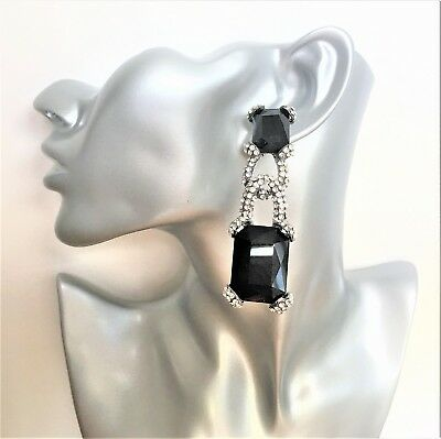 Beautiful Art Deco Style Dangle Long Diamante Earrings with Jet Black Crystals