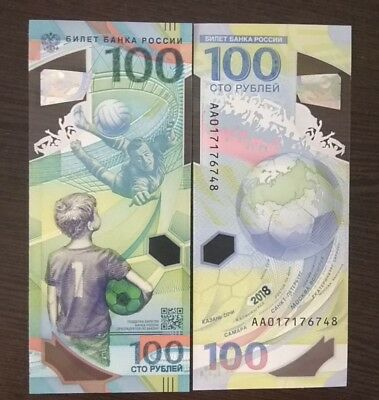 100 rubles Russia 2018 UNC FIFA World Cup Russia Polymer