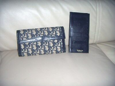 Vintage Christian Dior Blue Leather/Canvas Long Check Book Wallet Women's