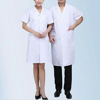 2x Unisex Scrubs White Lab Coat Hospital Uniform Doctor's Short Sleeve Coat