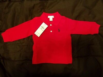 Polo Ralph Lauren Red Mesh Long Sleeve Collared Shirt Size 6M- Brand New
