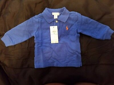 Brand New Royal Blue Polo Ralph Lauren Collared Long Sleeved Shirt Size 6M