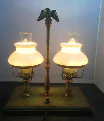 Vintage Bouillotte Wood & Brass Dual Light Table Lamp With Eagle Topper