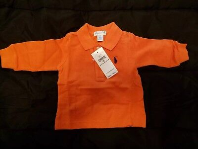 Brand New Orange Polo Ralph Lauren Collared Long Sleeved Shirt Size 6M