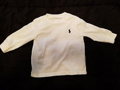 White Polo Ralph Lauren Long Sleeved Tee Shirt Size 6M