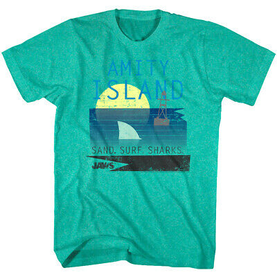Jaws Amity Island Vintage Poster Men's Green T Shirt Surf Distressed Sand Shark