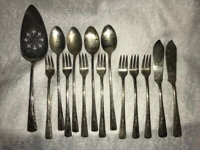 Camelia Silver Plate 14 Pc Pie Server Olive Forks Iced Tea Spoons Butter Knives