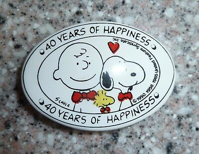 """Vintage Peanuts Gang, """"40 Years of Happiness"""" Hair Barrett Clip, Made In France"""