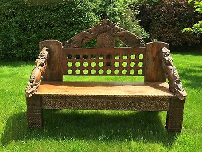 Gorgeous Carved Indian Bench