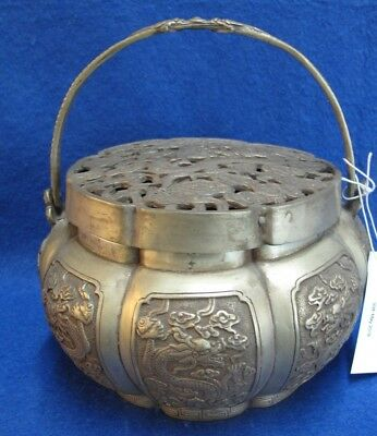 Superb And Rare Chinese /mongolian/  Brass And Silver Plate Hand Warmer &dragons