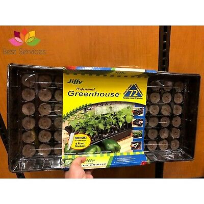 SEEDLING JIFFY SEED STARTER KIT Tray 72 Pellets Greenhouse Plant Propagation Pot