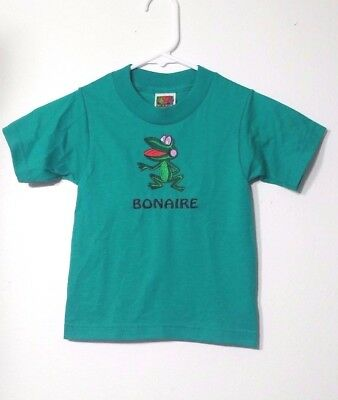 BONAIRE Child's T Shirt Size 2 / 4 Green Embroidered Frog Short Sleeve