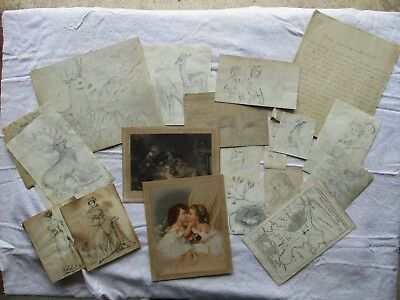 Early Antique Lot of 19th-Century Pencil Sketch Drawings & Engravings