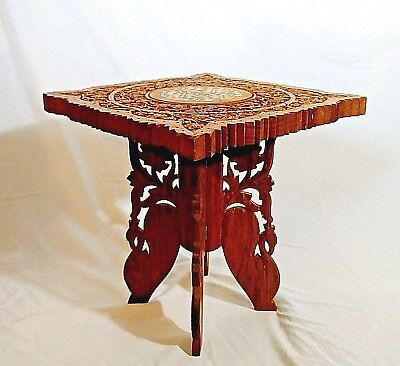 INDIA Antique Folding Table Wooden Hand Carved Bone Inlay