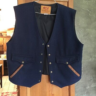 Schaefer  Outfitter Men's Navy Wool Blend Button Snap Leather Trim Vest  Size Xl