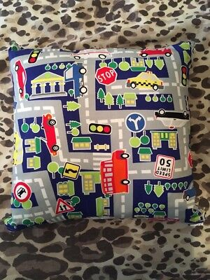 Blue Spot And Road Map Cushion - Used