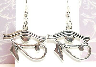 EYE OF HORUS_Large Antiqued Silver Earrings_Ra Egypt Luck Ancient Symbol Pyramid