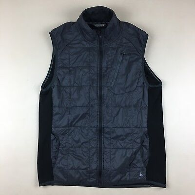 Smartwool Dark Gray & Black PhD(R) Smartloft Divide Midlayer Vest Full Zip Sz L