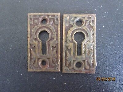 Two Vintage Art Deco Brass Door Key Hole Covers