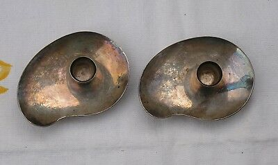 Pair Of Mcm Danish Silverplate Miniature Candle Holders A/s Chr. Jensen Denmark