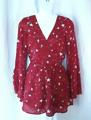 Love Fire Red White Star Print Lace Bell Sleeve Party Dress Romper NWOT XS SM