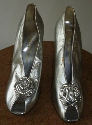 Vintage Silver Killer Heels Shoes Halston Carolini 70S Made In Italy Disco 4.5?