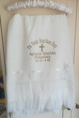 Delicate Beautiful Baby White Shawl Christening Blanket Embroidered Personalised