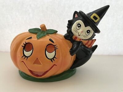 Vintage Geo Z. Lefton Halloween Black Cat On A Pumpkin Candleholder