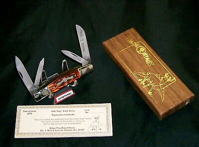 Boker USA Olde Stag Knife 70113 Full Congress #08061 W/Packaging & Papers Rare