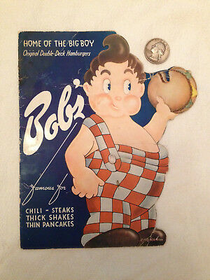 1938 BOB'S BIG BOY RESTAURANT MENU ORIGINAL DIE-CUT w/POP-OUT BABY CENTER INSERT