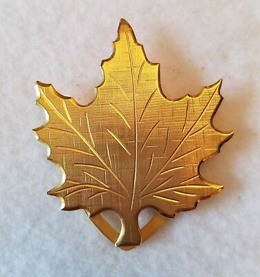 "Unbranded Goldtone Etched Maple Leaf Scarf Clasp 2"" X 1 3/4"""