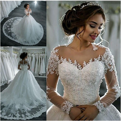 New Long Sleeve Bridal Gown Lace Ball Gown Wedding Dresses Princess Bridal Dress